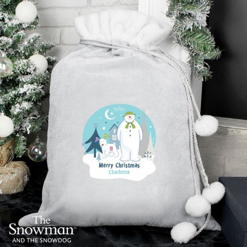Personalised The Snowman Luxury Silver Grey Christmas Sack
